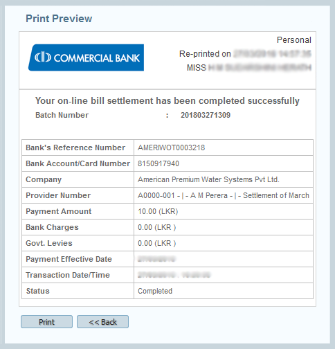 Commercial Bank Online Banking Charges